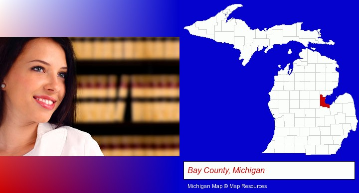 a young, female attorney in a law library; Bay County, Michigan highlighted in red on a map