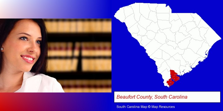 a young, female attorney in a law library; Beaufort County, South Carolina highlighted in red on a map
