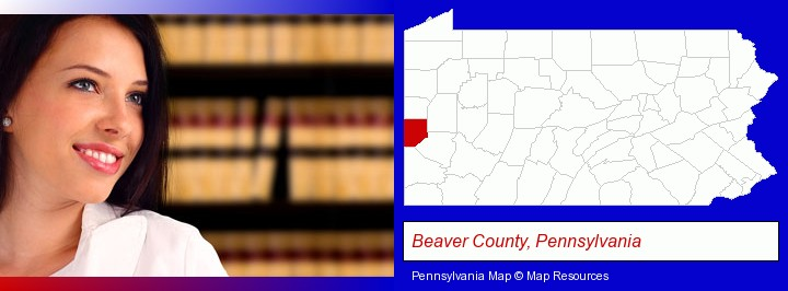 a young, female attorney in a law library; Beaver County, Pennsylvania highlighted in red on a map