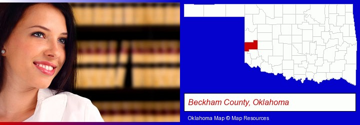 a young, female attorney in a law library; Beckham County, Oklahoma highlighted in red on a map