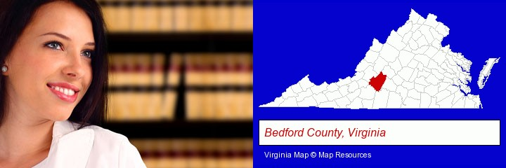 a young, female attorney in a law library; Bedford County, Virginia highlighted in red on a map