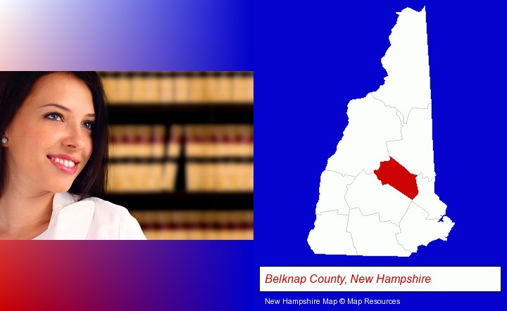 a young, female attorney in a law library; Belknap County, New Hampshire highlighted in red on a map