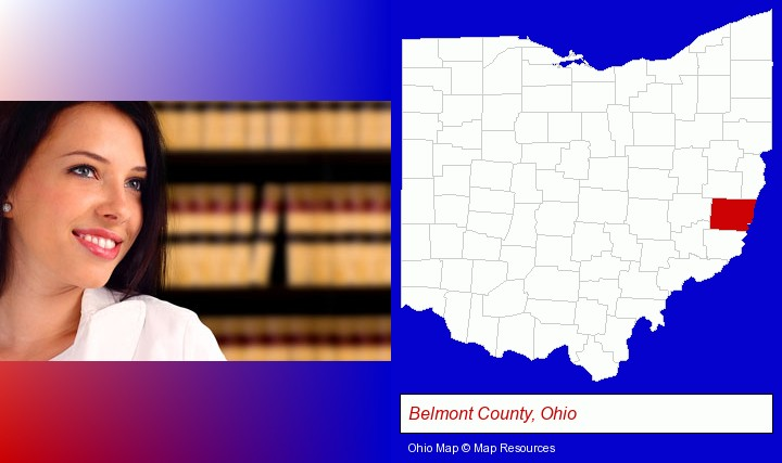 a young, female attorney in a law library; Belmont County, Ohio highlighted in red on a map