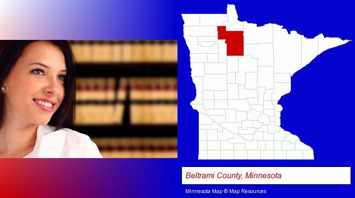 a young, female attorney in a law library; Beltrami County, Minnesota highlighted in red on a map