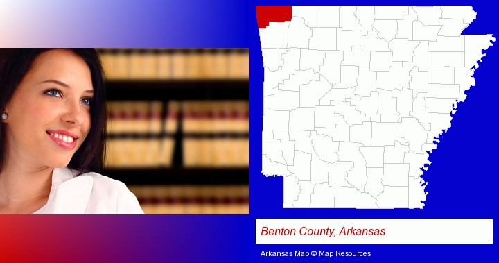 a young, female attorney in a law library; Benton County, Arkansas highlighted in red on a map