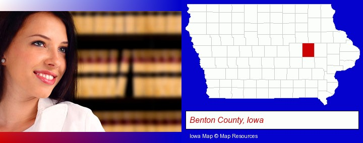 a young, female attorney in a law library; Benton County, Iowa highlighted in red on a map