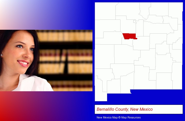 a young, female attorney in a law library; Bernalillo County, New Mexico highlighted in red on a map