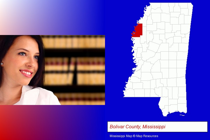 a young, female attorney in a law library; Bolivar County, Mississippi highlighted in red on a map