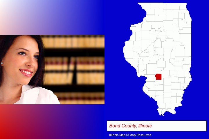 a young, female attorney in a law library; Bond County, Illinois highlighted in red on a map