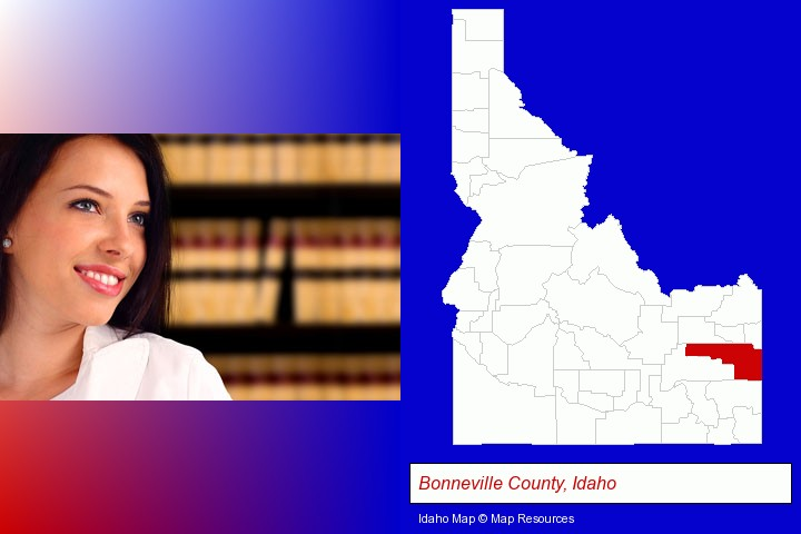 a young, female attorney in a law library; Bonneville County, Idaho highlighted in red on a map