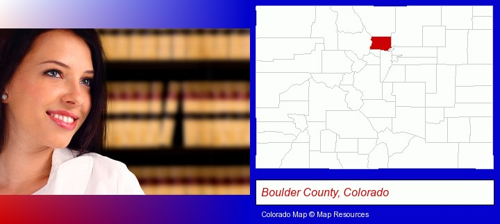 a young, female attorney in a law library; Boulder County, Colorado highlighted in red on a map