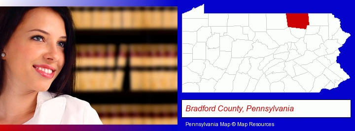 a young, female attorney in a law library; Bradford County, Pennsylvania highlighted in red on a map