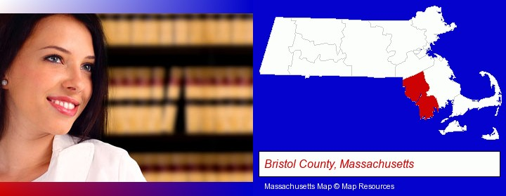 a young, female attorney in a law library; Bristol County, Massachusetts highlighted in red on a map