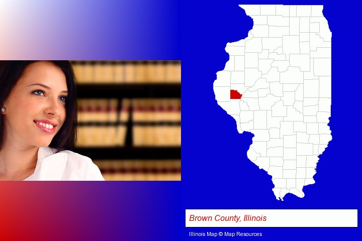 a young, female attorney in a law library; Brown County, Illinois highlighted in red on a map