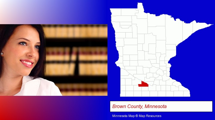 a young, female attorney in a law library; Brown County, Minnesota highlighted in red on a map