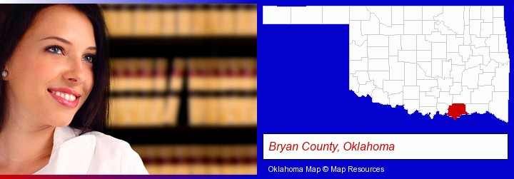 a young, female attorney in a law library; Bryan County, Oklahoma highlighted in red on a map