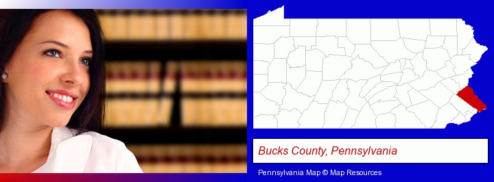 a young, female attorney in a law library; Bucks County, Pennsylvania highlighted in red on a map