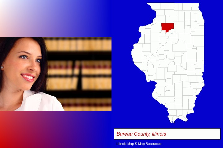 a young, female attorney in a law library; Bureau County, Illinois highlighted in red on a map
