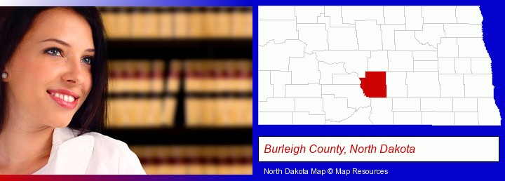 a young, female attorney in a law library; Burleigh County, North Dakota highlighted in red on a map