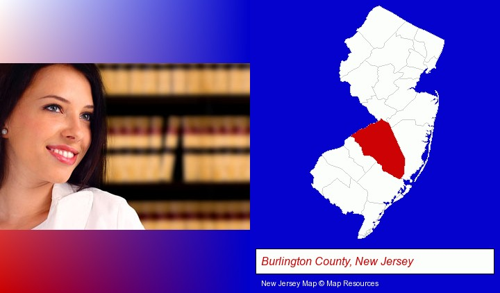 a young, female attorney in a law library; Burlington County, New Jersey highlighted in red on a map