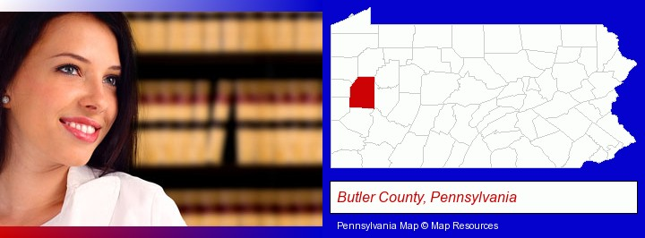 a young, female attorney in a law library; Butler County, Pennsylvania highlighted in red on a map