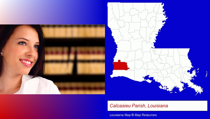 a young, female attorney in a law library; Calcasieu Parish, Louisiana highlighted in red on a map