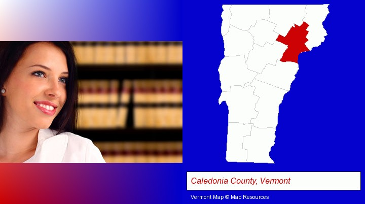 a young, female attorney in a law library; Caledonia County, Vermont highlighted in red on a map