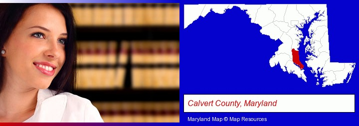 a young, female attorney in a law library; Calvert County, Maryland highlighted in red on a map