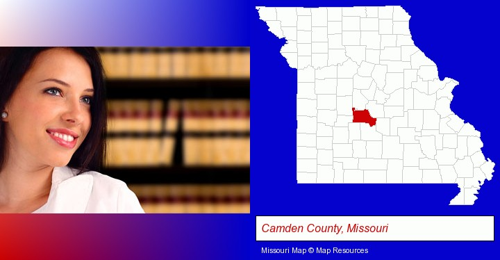 a young, female attorney in a law library; Camden County, Missouri highlighted in red on a map