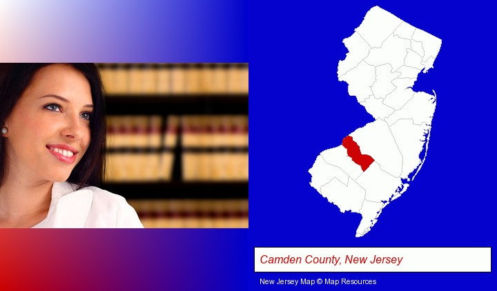 a young, female attorney in a law library; Camden County, New Jersey highlighted in red on a map