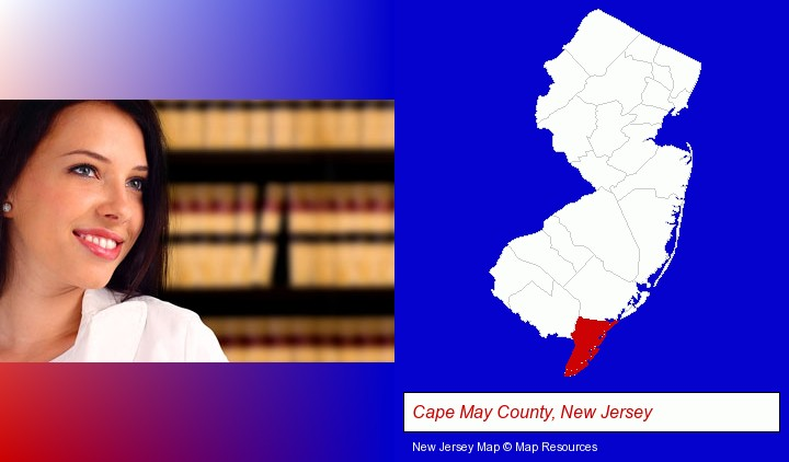 a young, female attorney in a law library; Cape May County, New Jersey highlighted in red on a map
