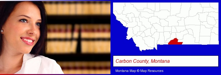 a young, female attorney in a law library; Carbon County, Montana highlighted in red on a map