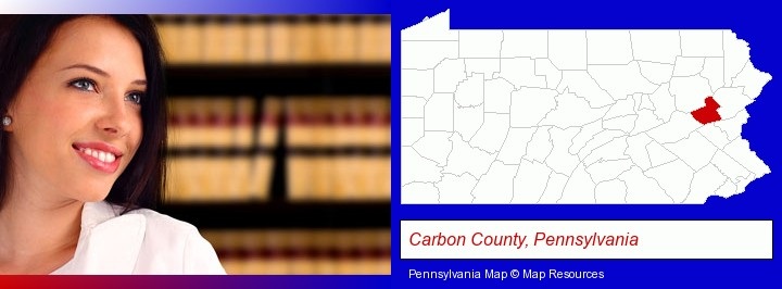 a young, female attorney in a law library; Carbon County, Pennsylvania highlighted in red on a map