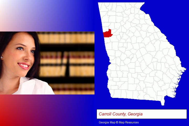 a young, female attorney in a law library; Carroll County, Georgia highlighted in red on a map