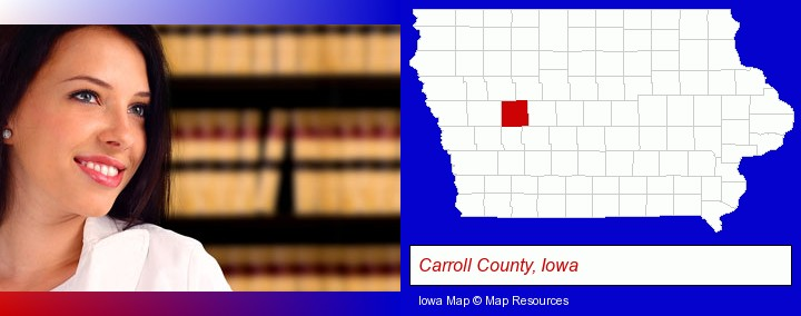 a young, female attorney in a law library; Carroll County, Iowa highlighted in red on a map