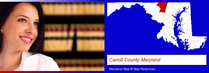a young, female attorney in a law library; Carroll County, Maryland highlighted in red on a map
