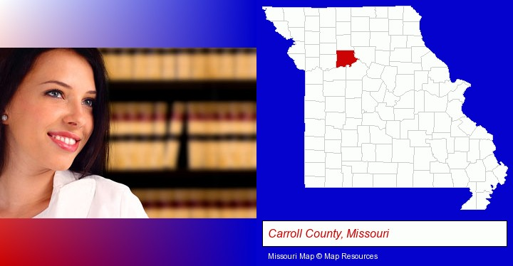 a young, female attorney in a law library; Carroll County, Missouri highlighted in red on a map