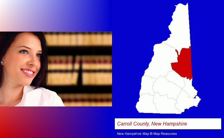 a young, female attorney in a law library; Carroll County, New Hampshire highlighted in red on a map