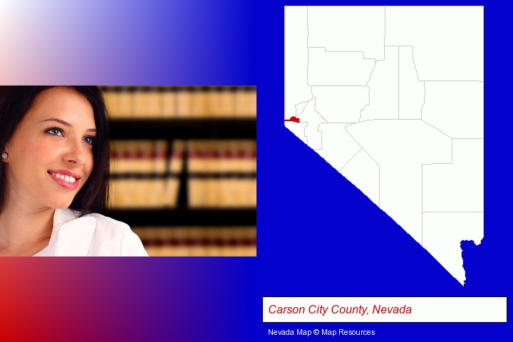 a young, female attorney in a law library; Carson City County, Nevada highlighted in red on a map