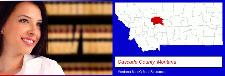 a young, female attorney in a law library; Cascade County, Montana highlighted in red on a map