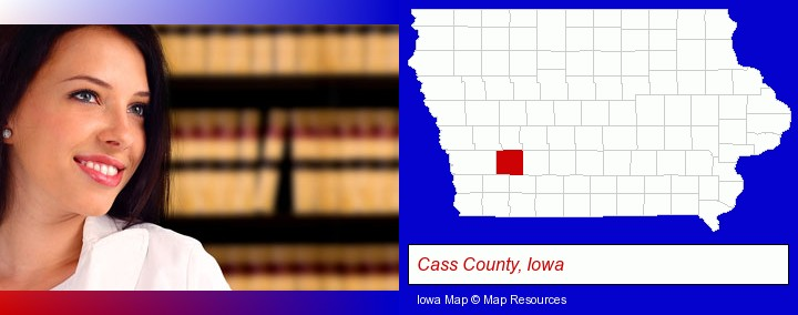 a young, female attorney in a law library; Cass County, Iowa highlighted in red on a map