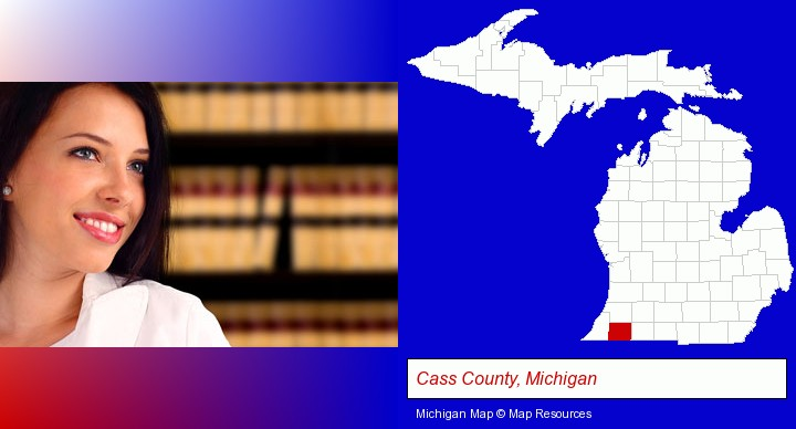 a young, female attorney in a law library; Cass County, Michigan highlighted in red on a map