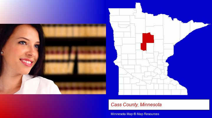 a young, female attorney in a law library; Cass County, Minnesota highlighted in red on a map