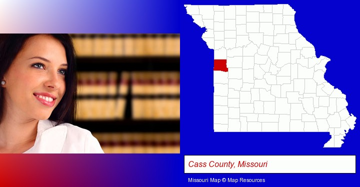 a young, female attorney in a law library; Cass County, Missouri highlighted in red on a map