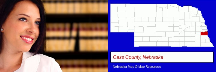 a young, female attorney in a law library; Cass County, Nebraska highlighted in red on a map