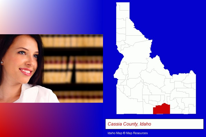 a young, female attorney in a law library; Cassia County, Idaho highlighted in red on a map