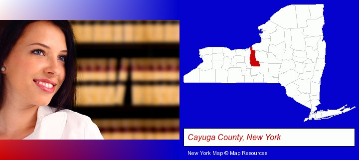 a young, female attorney in a law library; Cayuga County, New York highlighted in red on a map