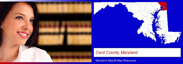 a young, female attorney in a law library; Cecil County, Maryland highlighted in red on a map