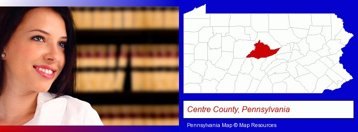 a young, female attorney in a law library; Centre County, Pennsylvania highlighted in red on a map