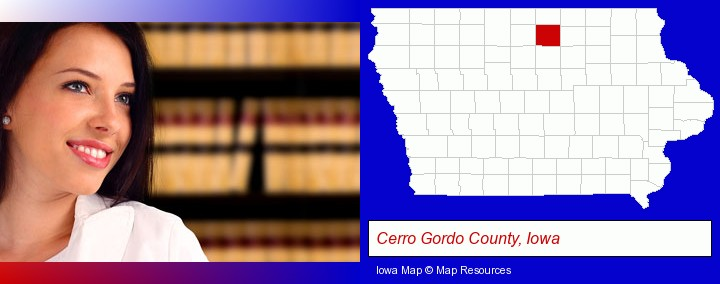 a young, female attorney in a law library; Cerro Gordo County, Iowa highlighted in red on a map